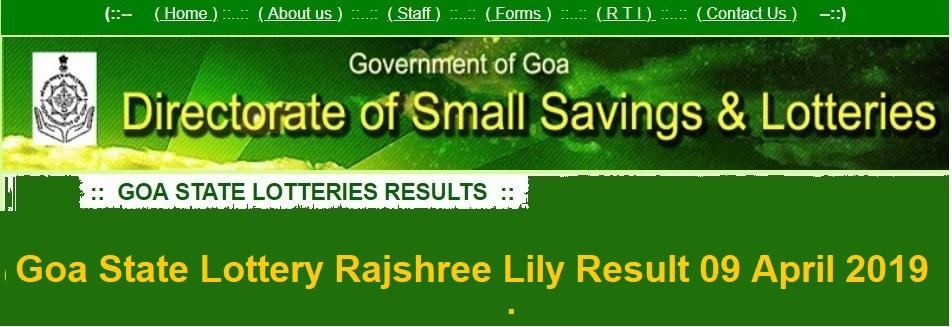 Goa State Lottery Rajshree Lily Result 09 April 2019