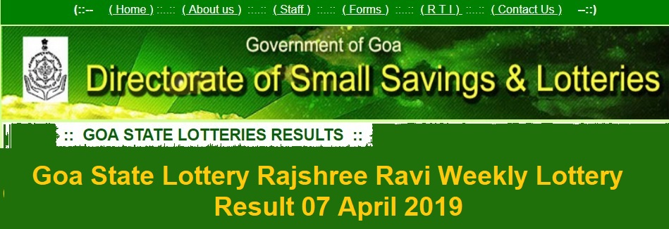 [www.ildl.in] Goa State Lottery Rajshree Ravi Weekly Lottery Result 07 April 2019